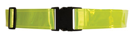 ML Kishigo Adjustable Hi-Viz Reflective Belt - ML Kishigo high visibility yellow waist band with plastic black clasp closures. Black plastic size adjuster on Right side for fit up to 54 inches.