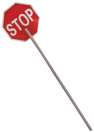 ML Kishigo 18 Inch Lightweight Stop Sign - ML Kishigo red octagon shaped sign with the word STOP in white text, white trim edges and a nine inch wooden handle in the middle.