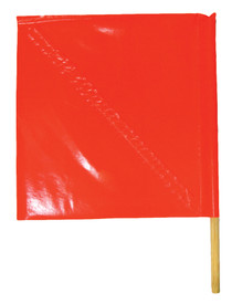 ML Kishigo 18 x 18 Vinyl Coated Standard Warning Flags - ML Kishigo Left view of red/orange warning flag. Reinforced diagonal stay to keep flag open. Twenty four inch wooden dowel.