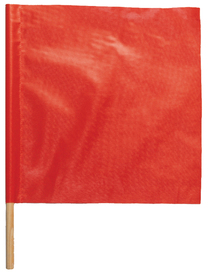 ML Kishigo 18 x 18 Vinyl Coated Standard Warning Flags - ML Kishigo red/orange warning flag. Reinforced diagonal stay to keep flag open. Twenty four inch wooden dowel.