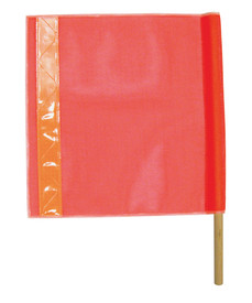 ML Kishigo 18 X 18 Heavy Mesh Hi-Viz Warning Flag - ML Kishigo red square shape flag with orange reflective stripe vertically down the left side. Twenty four inch wooden dowel on the Right side.