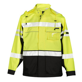 ML Kishigo 2 In 1 Class 3 Hi-Viz Zipper Front Jacket - Front view of ML Kishigo high visibility yellow jacket with two silver reflective stipes, one at the waist and one on the chest. Three silver reflective bands around the arms, two thin bands at bicep and one wide band just below the elbow. Black contrast at cuffs and up each side. Zippered front with two outside lower gusseted pockets with hook & loop flaps. Two outside lower side access pockets. Left chest pocket clear ID holder. Left arm cell phone pocket with zipper.