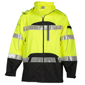 ML Kishigo Waterproof Ventilated Class 3 Rainwear  - Front view of ML Kishigo high visibility yellow rain jacket with brick patterned silver reflective bands around waist and mid back. Silver brick reflective bands on each arm at bicep and forearm. Contrasting black bottom quarter sleeves, jacket sides, bottom quarter and small half circle at chest. Black zippered closure with zippered left chest slant pocket. Left arm cell pocket with zipper. Contrasting black piping.