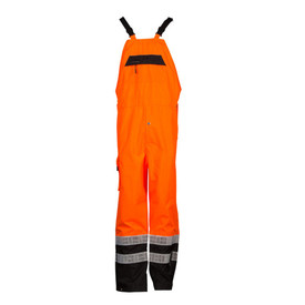 ML Kishigo Class E Elastic Suspender Hi-Viz Rain Bib Overall - Front View of high visibility orange rain bib overall with lower black legs and two silver reflective stripes on the black around each leg. It also has front bib pocket with zipper, cargo pocket and black suspenders with quick release buckles.