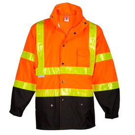 ML Kishigo Zipper Storm Flap Closure Class 3 Hi-Viz Rainwear - Front view of ML Kishigo high visibility orange jacket with silver brick patterned reflective stripe around waist and mid chest. Stripes extend vertically from mid chest band over each shoulder and horizontally around each arm in direct line with body stripes. Bottom quarter of each sleeve and main body is black. Adjustable elastic cord at waist band. Snap front closure with left chest pocket and two bottom pockets with flaps.