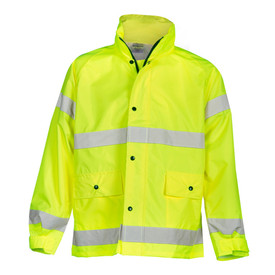 ML Kishigo Class 3 Men's Vented Lined Storm Rainwear - Front view of ML Kishigo high visibility yellow rain jacket with silver reflective stripe at the bottom hem and at mid chest. Each sleeve has two reflective bands, one on upper arm near the shoulder and one at wrist level. Black snaps over zipper closure and two lower patch pockets with snap close flaps. Adjustable cuffs and hood in neck storage.