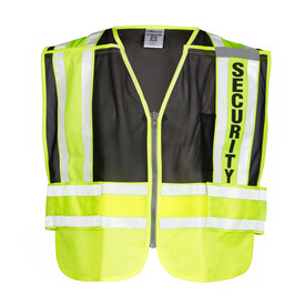 "ML Kishigo PS - Security 4 Point Breakaway Hi-Viz Mesh Vest - Front view of ML Kishigo high visibility black vest with yellow bottom quarter. Yellow on white reflective stripes run around the waist and vertically over each shoulder. ""SECURITY"" in black lettering on the left reflective stripe. Left chest mic tab and pencil pocket."
