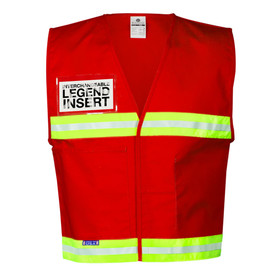 ML Kishigo Hook and Loop Closure Non-ANSI Hi-Viz Vest - Front View of Red MLK Incident Command Safety Vest with silver on yellow reflective tape on waist area and upper chest area. Right chest has a clear slot to hold IDs.