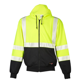 ML Kishigo FR 2 Pocket Class 3 Hi-Viz Hoodie - Front view high visibility yellow hoodie with white reflective stripe going over the shoulders, around the waist and four reflective bands around the arm sleeves. Bottom quarter is black and bottom quarter of sleeves are black. Zipper closure and two front slash pockets. Black drawstring to adjust hood fit.