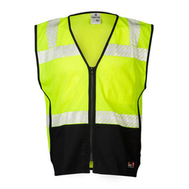 ML Kishigo FR Mesh Class 2 Zipper Front 3 Pocket ANSI Vest - Front view of high visibility yellow vest with black bottom. Silver Reflective stripe going over the shoulders, around the waist and around the upper chest. Vest has zipper front closure.