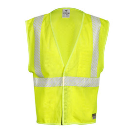 ML Kishigo FR Breathable Mesh Hook and Loop Class 2 Vest - Front view high visibility yellow vest with white reflective stripe around the waist and extending vertically over each shoulder. Hook and loop closure.