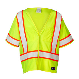 ML Kishigo FR Hook and Loop Class 3 Hi-Viz Mesh Vest - Front view high visibility yellow vest with contrasting orange on white reflective stripping around waist and vertically over both shoulders. Matching orange on white reflective stripes at the end of each short sleeve. Hook and loop front closure. One outside left chest pencil pocket and one outside Right chest storage pocket.