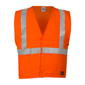 ML Kishigo FR Economy 4 Pocket Class 2 Solid Vest - Front view of Yellow High Visibility Solid Vest with silver reflective stripes going around the waist and up over both shoulders. Hook and loop closure.