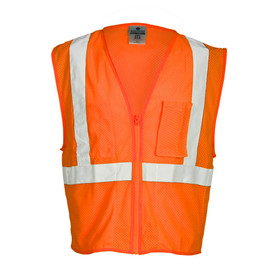 ML Kishigo Chemically Treated Mesh 4 Pocket Class 2 Vest - Front view high visibility orange vest with reflective stripe going over the shoulders and a reflective stripe around the waist. Orange zipper front closure. Outside left chest radio pocket with hook & loop tab.