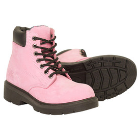 Women's Waterproof Industrial Pink Safety Work Boot - Alice - Pink, Comfortable metal free waterproof work boot with industrial grade lacing and a leather ankle cuff with sole showing