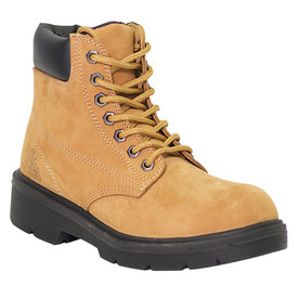 Women's Waterproof Industrial Tan Safety Work Boot - Alice - Single Tan, comfortable metal free safety work boot with industrial grade lacing and leather cuff