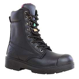 Women's 8 Inch Black Industrial Waterproof Work Boot - Anne - Black waterproof 8 inch industrial waterproof work boot with metal coverings for lace holes and rubber sole