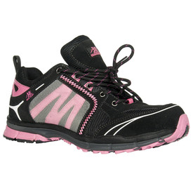Women's Super Lightweight Safety Shoe - Robin - Black and pink safety shoe with black and pink laces with pink stitching and mesh uppers