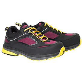 Women's Metal Free Waterproof Athletic Hiker - Frankie - Pair of shoes with yellow sole and laces, Black top and maroon mesh