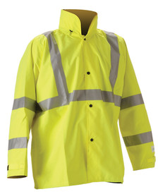 Nasco Class 3 Hi Visibility Yellow Rain Jacket -  Yellow Rain Jacket with reflective tape around the upper chest, up the front to the shoulders and 2 tape around the arms