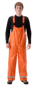 Nasco FR CAT 2 Utility Orange Rain Overall - Young Man wearing a NASCO orange rain bib overalls and black shirt