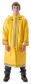 Nasco Long FR CAT 2 Yellow Rain Coat - Young Man wearing a NASCO Yellow long 48 Inch Rain Coat