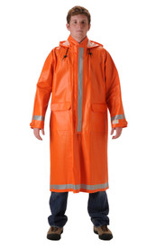 Nasco Long FR CAT 2 Orange Rain Coat - Young Man wearing a NASCO long orange rain coat