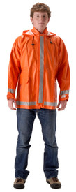 Nasco Orange FR Waist Length Rain Jacket - Yong guy wearing a NASCO Orange Rain Coat and Black Pants
