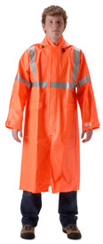Nasco Class 3 FR Long Orange Rain Coat - Young Man wearing a NASCO Orange long 48 inch length rain coat
