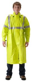 Nasco Class 3 FR Long Yellow Rain Coat - Young Man wearing a NASCO Yellow long 48 inch length rain coat