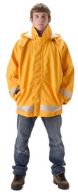 Nasco Flame Resistant Chemical Splash Rain Jacket - Young Man wearing a NASCO orange rain jacket with silver reflective tape around bottom of waist and bottom of both arms
