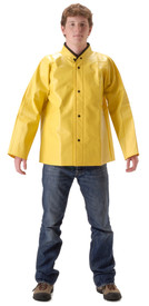 Nasco Lightweight Yellow Waist Length Jacket - Yong guy wearing a NASCO waist length yellow rain jacket and black pants