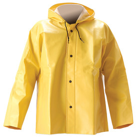 WorkTrack Series 400 Detachable Hood -  Yellow Rain Jacket with snap front closure and hood