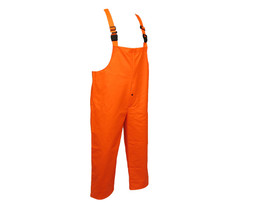 Nasco FR CAT 2 Chemical Resistant Rain Bib Overall -  Orange rain bib overall with straps