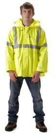Nasco Class 3 FR Yellow Rain Jacket - Young Man wearing a NASCO yellow rain jacket