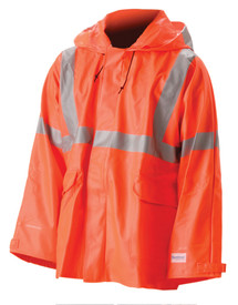 Nasco Sentinel Class 3 FR Orange Rain Jacket  -  orange rain jacket with silver reflective tape around the arms, around the wait and over the shoulders