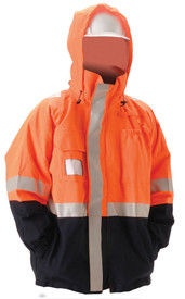 Nasco Orange Omega FR Class 3 Length Rain Jacket -  Orange top and black bottom rain jacket with reflective tape around arms, waist and over the shoulders