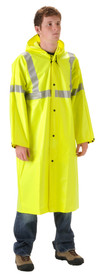 Nasco Hi-Viz Yellow Long Rain Coat - Young Man wearing a NASCO long 48 inch yellow rain coat with reflective tape around the chest, both arms and up the front to the shoulders