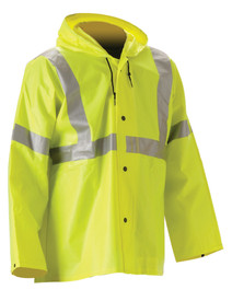 Nasco Hi-Viz Yellow Class 3 Waist Length Jacket -  Yellow Waist Length Rain Jacket with silver reflective tape around both arms, around the chest and up the front to the shoulders