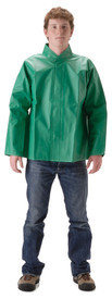 Nasco Green Waist Length Waterproof Jacket  -  Green rain jacket with collar and hidden snap front closure