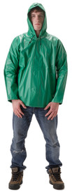 NASCO AcidBasic 50 Series Hood - Young Man wearing a NASCO green rain coat and attached hood over his head