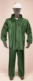NASCO Lightweight Waist Length Rain Jacket - Model wearing a NASCO green rain coat and green rain pants