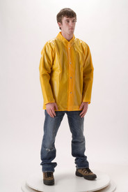 NASCO Lightweight Durable Rain Jacket - Young Man wearing a NASCO jeans and a yellow waist length rain jacket