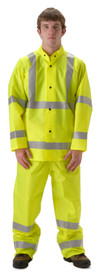 Class 3 Hi Viz Yellow Rain Jacket -  - Young Man wearing a NASCO yellow rain jacket with 2 reflective tape around each arm, 2 reflective tape around the waist and chest and reflective tape over the shoulders