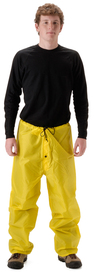 NASCO Lightweight Rain Pants - Young Man wearing a NASCO yellow rain pants with snap closure and drawstring