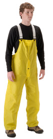 NASCO WorkLite Yellow Rain Bib Overall - Young Man wearing a NASCO yellow rain bib overall with shite suspenders and snap closure