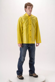 NASCO WorkLite Rain Jacket with Collar - Young Man wearing  NASCO jeans and yellow rain coat with collar