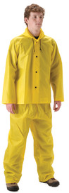 NASCO WorkLite Rain Jacket with Hood - Front View of Young Man wearing a NASCO yellow rain jacket with hood and yellow rain pants