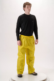 Lightweight Yellow Rain Pants -  - Young Man wearing a NASCO black shirt and yellow rain pants