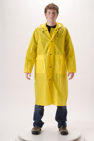 Durable Long Yellow Rain Coat -  - Young Man wearing a NASCO yellow long rain coat